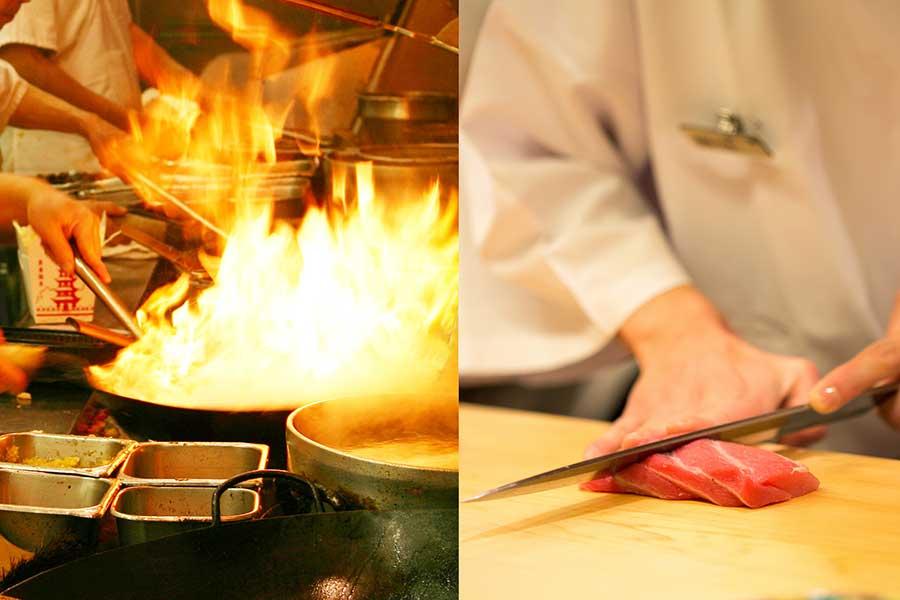 un wok cinese Vs preparazione del sushi